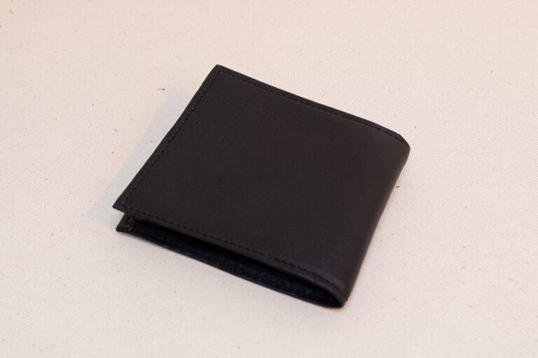 二つ折りサイフ 本牛革 ブラック