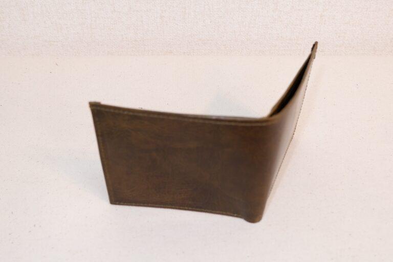 二つ折りサイフ 本牛革 カーキー