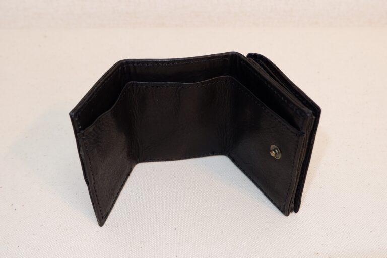 三つ折りサイフ 本牛革 ブラック