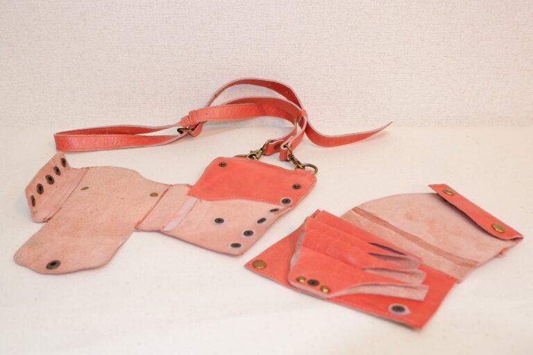 オープンシザーケース 本革製 サーモンピンク