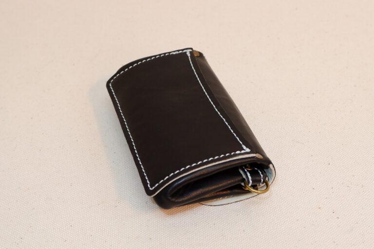 ダブルかぶせポーチ 本革製 ブラック