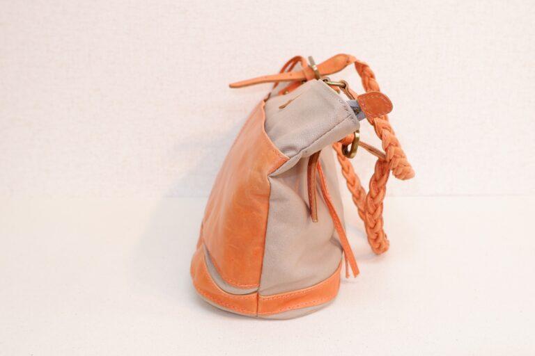トートバッグ 馬革×帆布 オレンジ×ベージュ