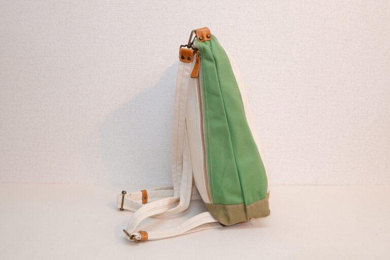 ドータクリュック 帆布 ホワイト×グリーン×モスグリーン