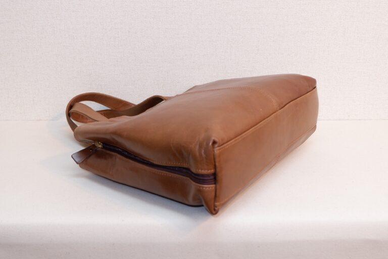 サイドファスナービジネスバッグ 本牛革 ブラウン