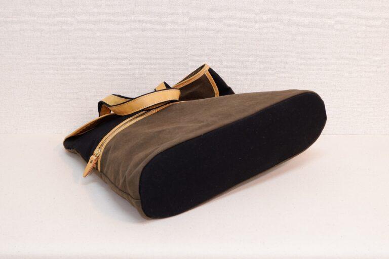 楽譜入れトートバッグ 帆布 ブラック×カーキー