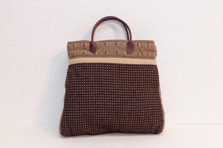 トートバッグ 織物 ブラウン