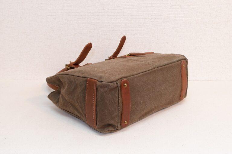 ハンドバッグ 帆布 カーキー