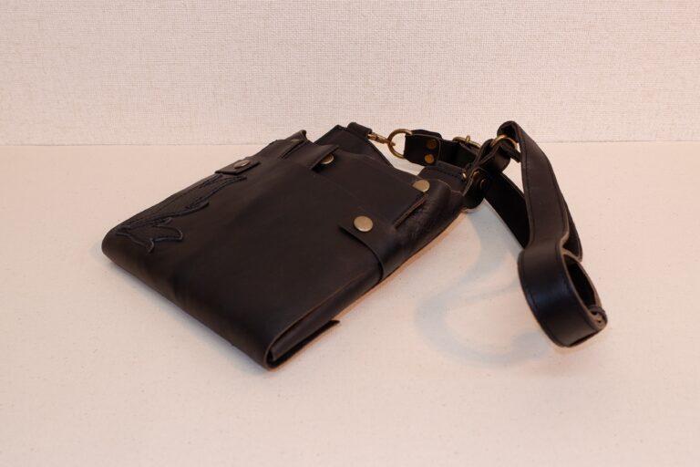 オープンシザーケース 本革製 ブラック
