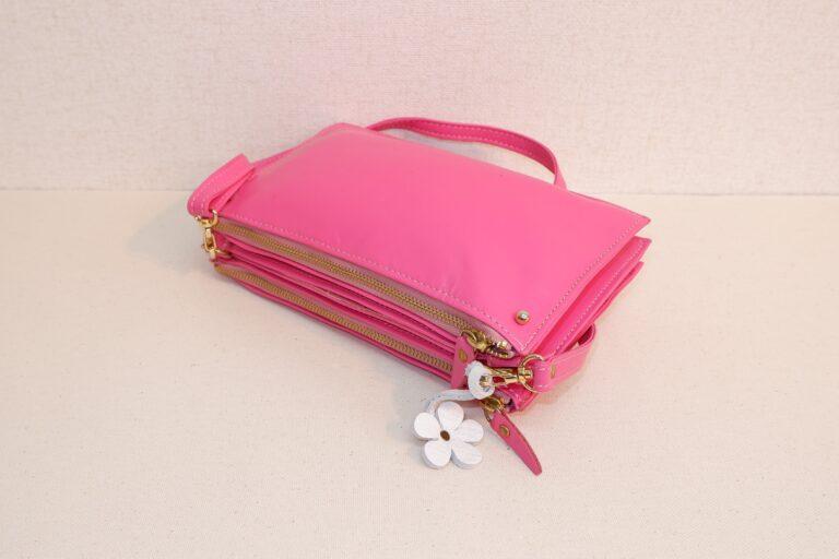 ミツドーショルダーバッグ 本牛革 ピンク