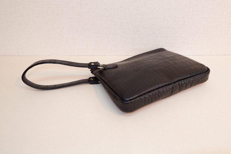 クラッチバッグ 型押本牛革 ブラック