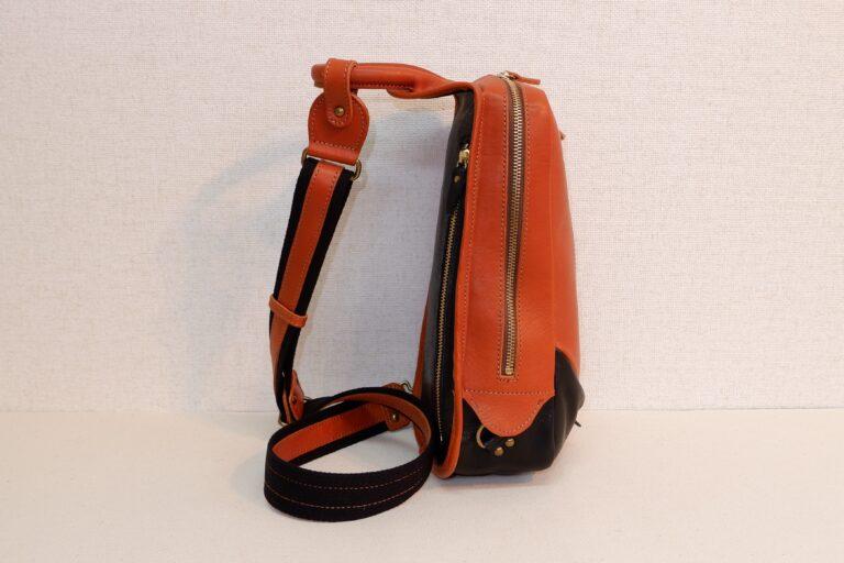 ビートルボディバッグ 本牛革 オレンジ×ブラック
