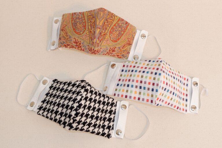 織物生地立体不織布マスク 本革製イヤーハング付き Lサイズ
