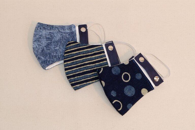 藍染立体不織布マスク 本革製イヤーハング付き Lサイズ
