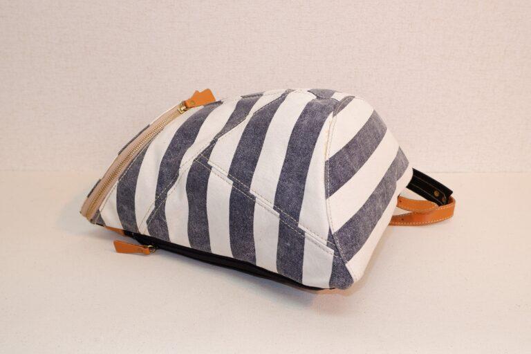 さるぼぼリュック プリント帆布 ネイビーボーダー
