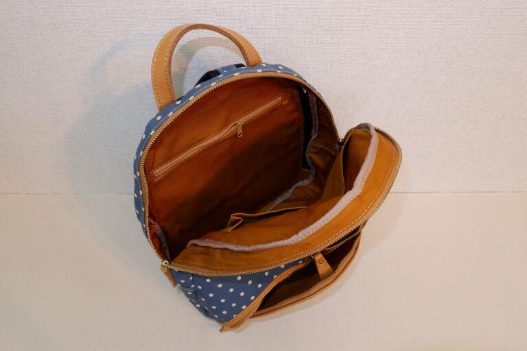 マウスリュック プリント帆布 ブルー