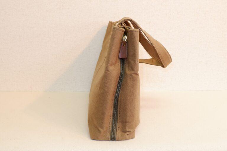 サイドファスナービジネスバッグ 帆布 ベージュ