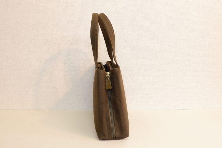 サイドファスナートートバッグ 帆布 カーキー