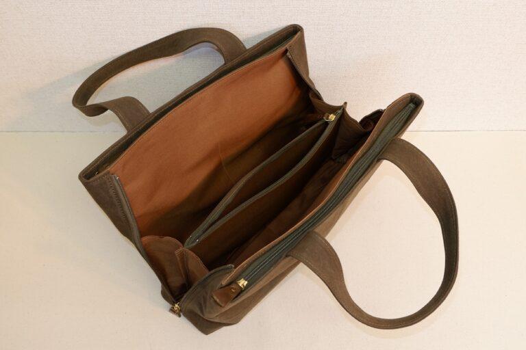 サイドファスナービジネスバッグ 帆布 カーキー