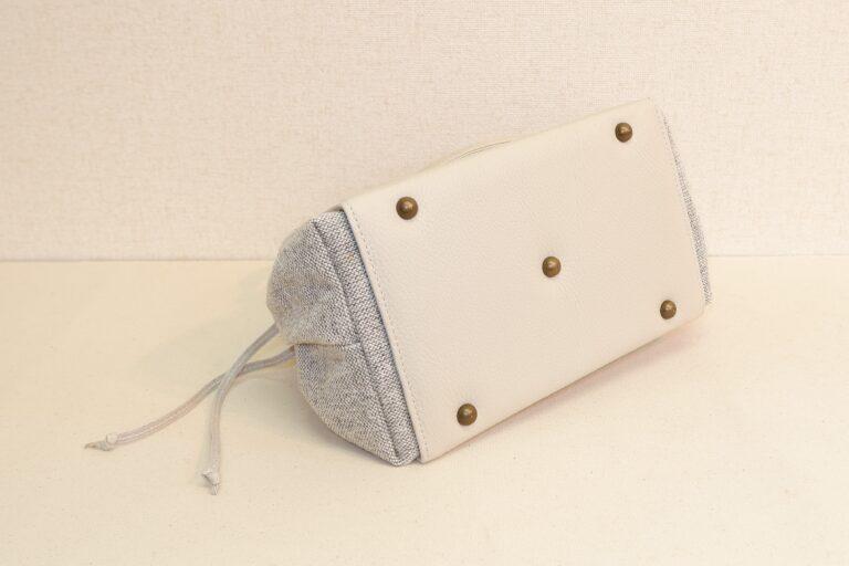キセカエハンドバッグ 本牛革×綿織物 ホワイト×アッシュ