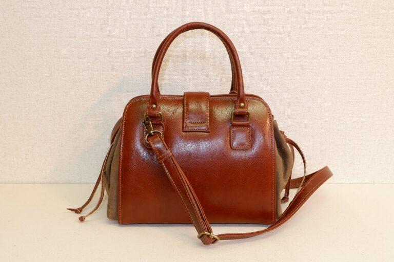 キセカエハンドバッグ 本牛革×パラフィンバイオ加工帆布 ブラウン×ベージュ