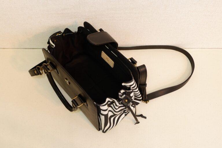キセカエハンドバッグ 本牛革×コットンプリント ブラック×ゼブラ
