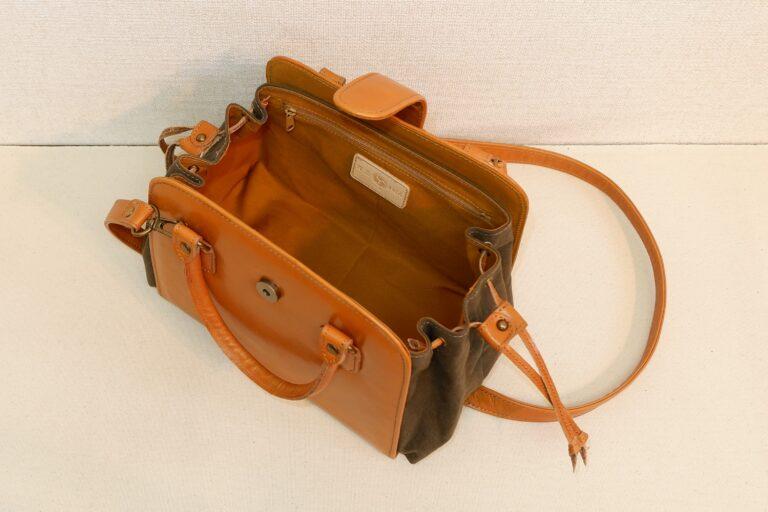 キセカエハンドバッグ 本牛革×パラフィンバイオ加工帆布 ベージュ×カーキー