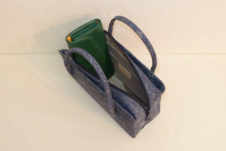アオリ式利休ハンドバッグ 絹織物 藍